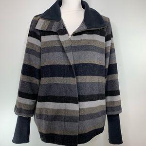 PRANA Striped Layered Sleeve Wool Coat size Medium
